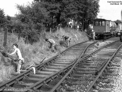 ESR Civil week 1986.The pway dept at work on track drainage up at the shed.