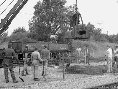 ESR civil week 1986. The pway dept at work on a new upgraded footpath.