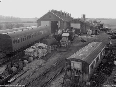 Sunday 13th December 1987. Picture taken from the scaffolding of the then under construction new carriage repair shed looking south towards Shepton.