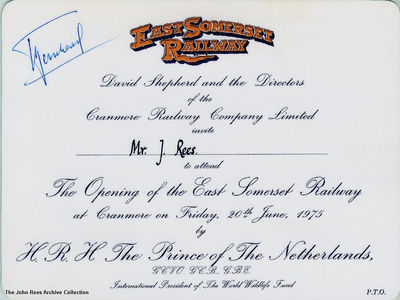 The invitation sent out for the Royal Opening of the East Somerset Railway n 1975