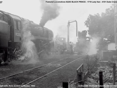 ^th October 1984 Enthusiasts Weekend. Featured - Black Prince 92203, Lady Nan 1719 and 4101 Dubs Crane tank.