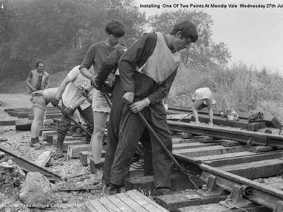Installing one of two points at Mendip Vale Weds 27th July 1983
