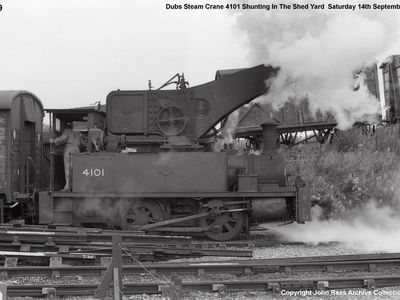 14th Sept 1985. Dub steam crane 4101 shunting in the shed yard.