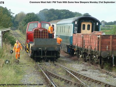 Monday 21st Sept 2009. ex works 0-4-0 Sentinel Cattewater with Pway train of some new sleepers. Pat Goodfellow and Phil Hamerton