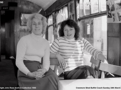 Sunday 24th March 1985. Kath Chard and Caroline in the buffet coach.