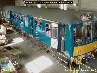 27th March 2019. Inside the CTMS workshop class 108 coach 54271 receiving an overhaul.