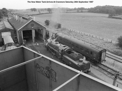 View from the water tower - the railway had judt taken delivery of a new water tank. Green Knight is being prepared for the day's work by the late Dave Massey.