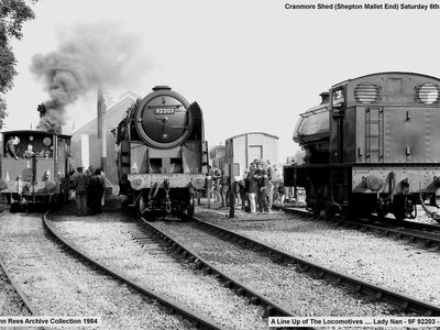 1984 Enthusiast Weekend. In steam - Balck Prince, J94 Austerity 68005 and Lady Nan under steam test.