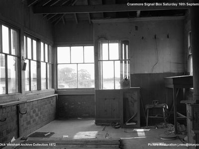 16th Sept 1972. The derelict signal box.