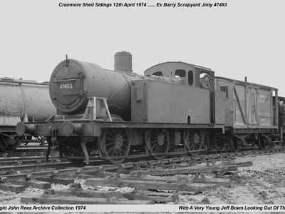 12th April 1974. One of the first locos to be given a general overhaul was  ex Barry scrapyard 0-6-0 Jinty 47493 -owned by Barry Buckfield. Driver Wilf Wilds with Jeff Bown looking out of the cab.