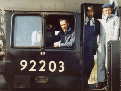 Prince Michael on the footplate with George Shields and Pat goodfellow