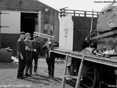 Another sunny day at Cranmore on the East Somerset Railway that can only mean one thing ? .. yep ... time for another cup of tea ( Yorkshire I Hope ) we see from left to right George Shields - Jeff Bown - Arthur Young and Dean knight during a break on the