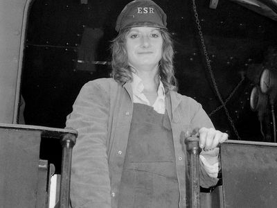 Cranmore Shed ...... This is a picture of Ann West at the time as far as i recall Ann was one of the first female fireman on any locomotive footplate in the UK ..... the story even made the national press. PS The footplate she`s pictured on is that of Jin