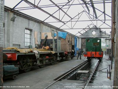 Cranmore Shed looking towards Shepton Mallet on the left is the E1 having been withdrawn from service at the time pending some serious boiler repairs and on the right over the pit can be seen Lord Fisher. PS The E1 locomotive can now be seen at the Haven