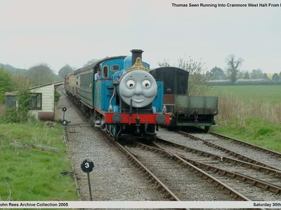 Seen running into Cranmore West Halt from Mendip Vale is Thomas ( Jinty ) that was hired in from another railway for the summer season. Picture taken Saturday 30th April 2005.