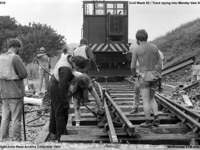 Civil Week 1983 ....... track work finally arrives at the site of what would become Mendip Vale Station but it would be some months yet before the track became operational. Picture taken Wednesday 27th July 1983
