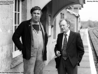 Cranmore Station had a special visitor back in 1984 in the shape of the BBC Mastermind Champion for 1983 Christopher Hughes pictured on the right is the ESR Alan (where`s me pipe) French. Picture taken Saturday 26th May 1984
