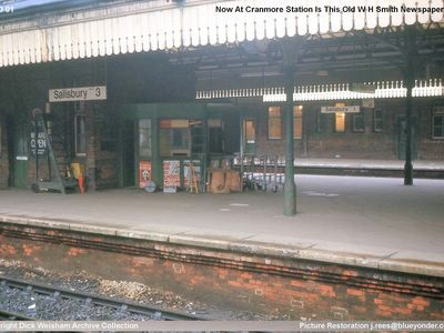 The W H Smiths kiosk between platforms 2 and 3 at Salisbury Station - now restored and residing at Cranmore.