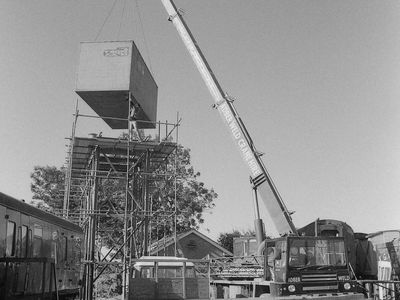 The new water tank being lowered into position .......... Saturday 26th September 1987