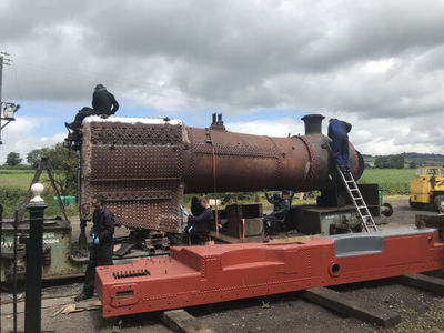 It was then all hands on the boiler to cupbrush all over and paint it in boiler paint