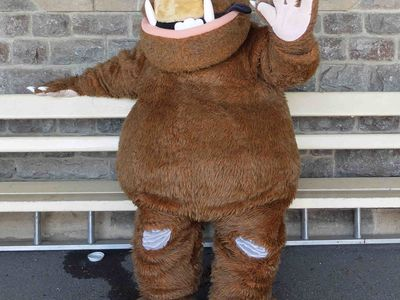 Gruffalo arrives on the platform and strikes a pose before his fans arrive