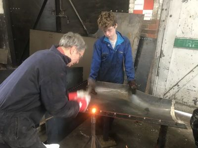 James and Sam fitting rivets to some of the bunker parts.