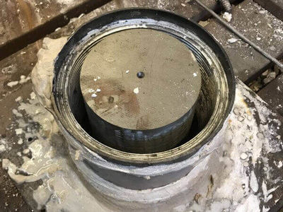 The bearing is then tinned and set up for white metaling.