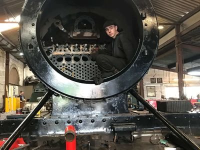 James is in the smokebox having fitted the regulator and superheater header