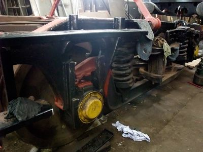 the bogie being serviced and awaiting the fitting of new secondary springs